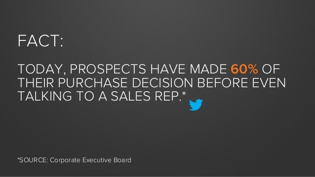 FACT: TODAY, PROSPECTS HAVE MADE 60% OF THEIR PURCHASE DECISION BEFORE EVEN TALKING TO A SALES REP.*  *SOURCE: Corporate E...