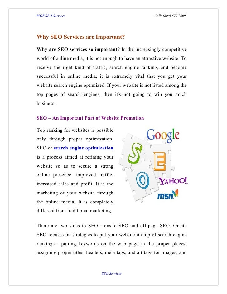 MOS SEO Services                                         Call: (800) 670 2809Why SEO Services are Important?Why are SEO se...