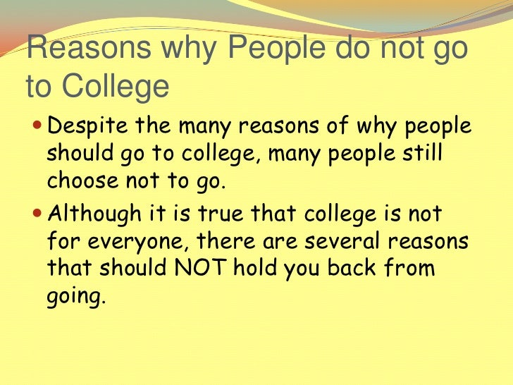 why or why not college should The obama plan for tuition-free community college, america's college promise, will go nowhere in the current congress but it's still important to understand what.