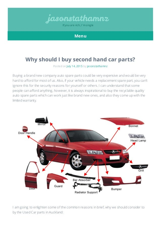 Why should i buy second hand car parts
