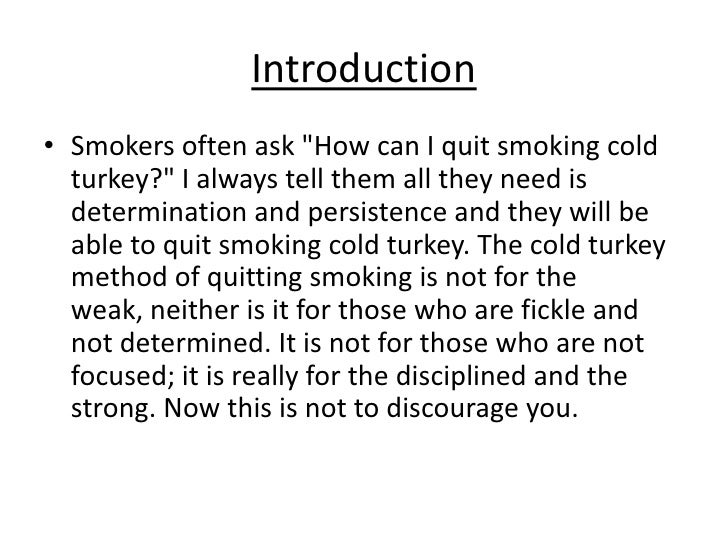Why should i quit smoking cold turkey