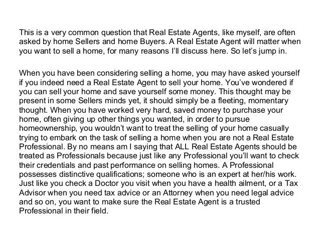 Why should I use a real estate agent to sell my home? Slide 2