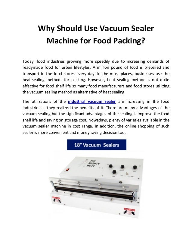 Why should use vacuum sealer machine for food packing
