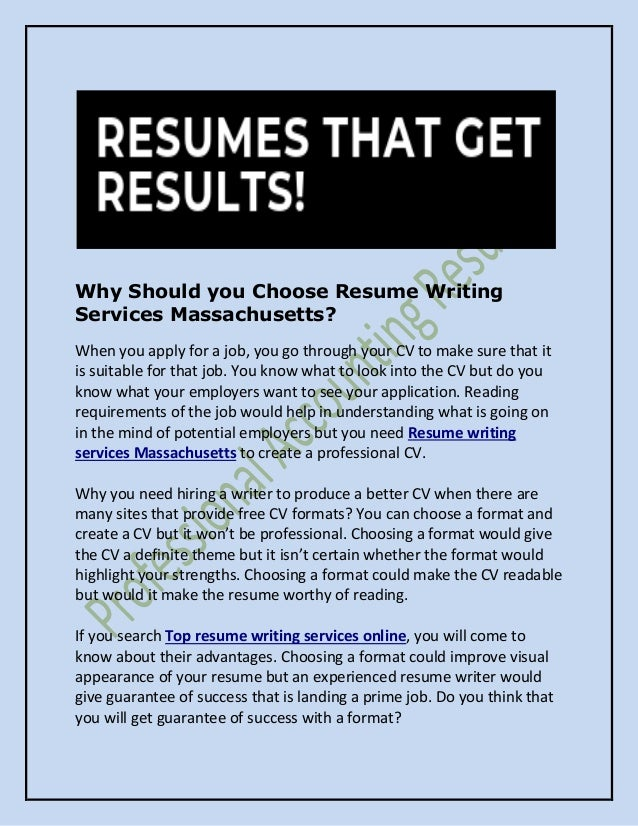Why Should You Choose Resume Writing Services Massachusetts