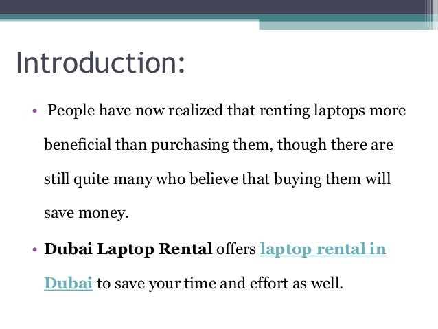 Why should you go for Laptop Rental in Dubai?