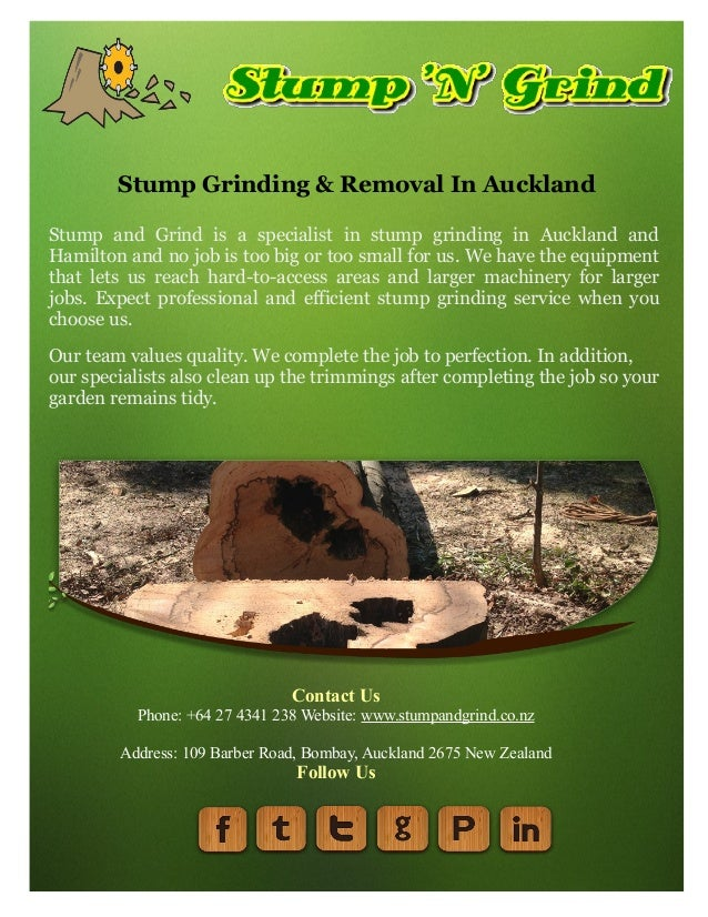 Stump Grinding & Removal In Auckland Stump and Grind is a specialist in stump grinding in Auckland and Hamilton and no job...
