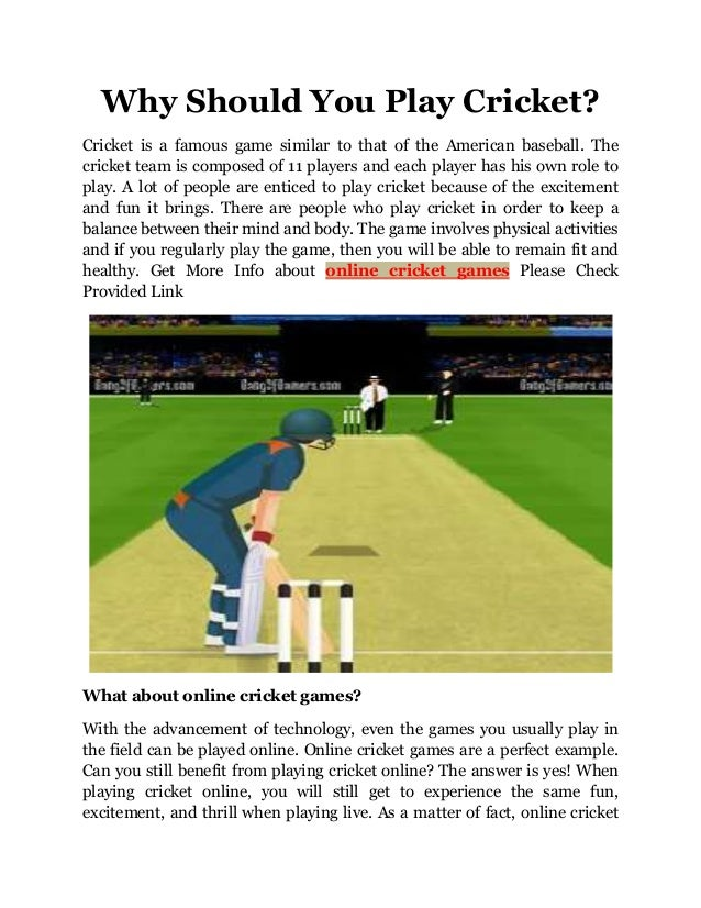 Why Should You Play Cricket