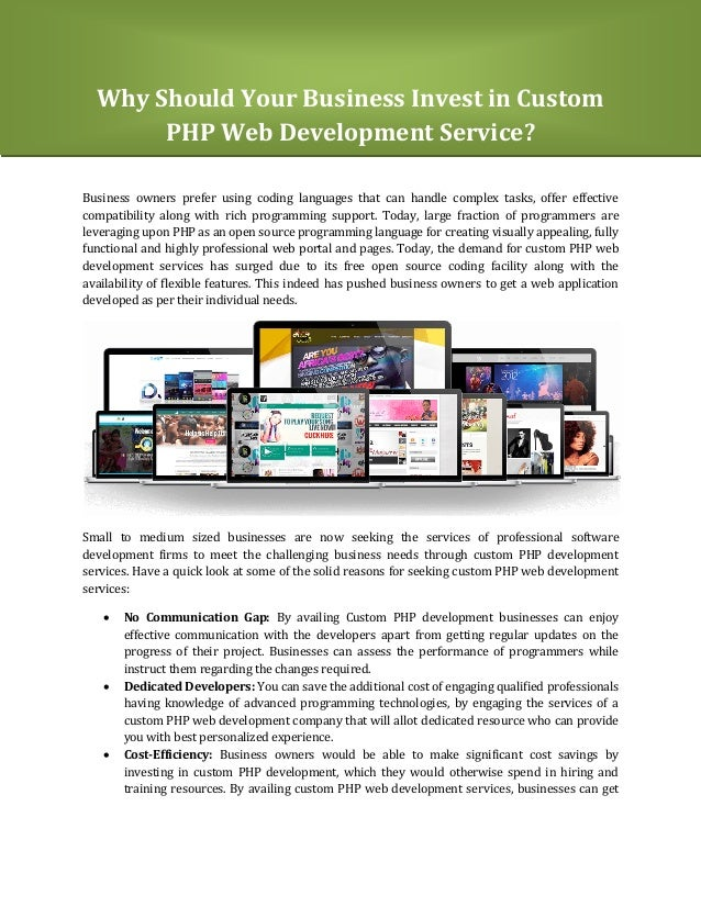 Why Should Your Business Invest in Custom PHP Web Development Service? Business owners prefer using coding languages that ...