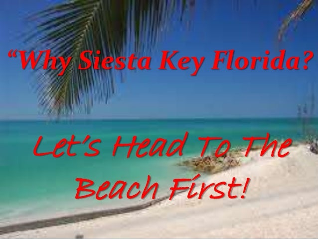 """""""Why Siesta Key Florida?  Let's Head To The Beach First!"""