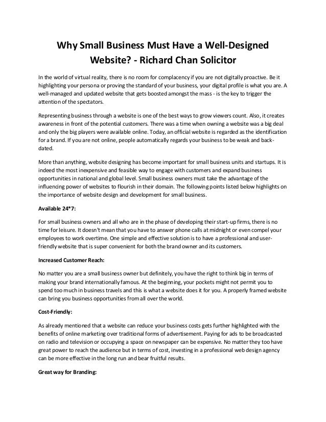 Why Small Business Must Have a Well-Designed Website? - Richard Chan Solicitor In the world of virtual reality, there is n...