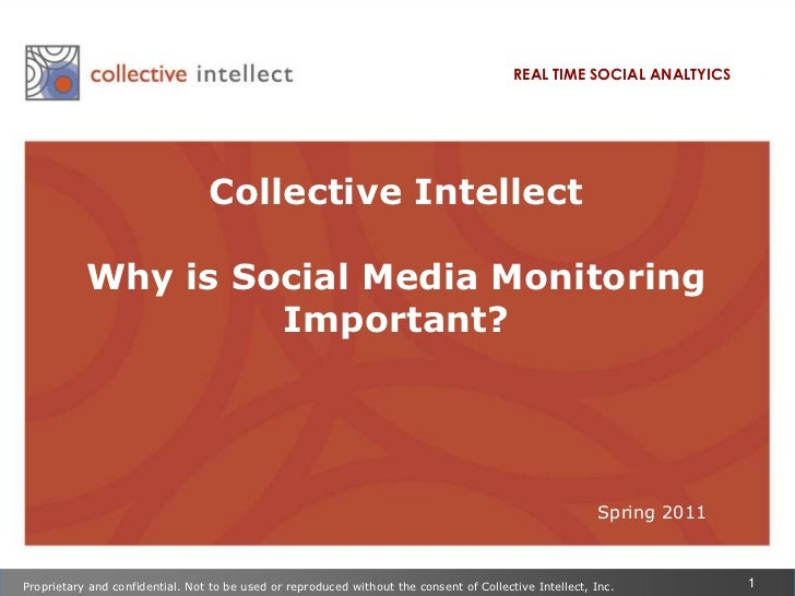 REAL TIME SOCIAL ANALTYICS<br />Collective Intellect <br />Why is Social Media Monitoring Important?<br />Spring 2011<br /...