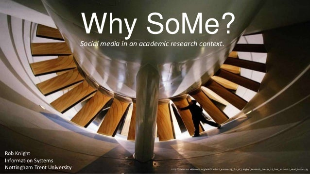 Why SoMe?Social media in an academic research context. http://commons.wikimedia.org/wiki/File:Man_examining_fan_of_Langley...