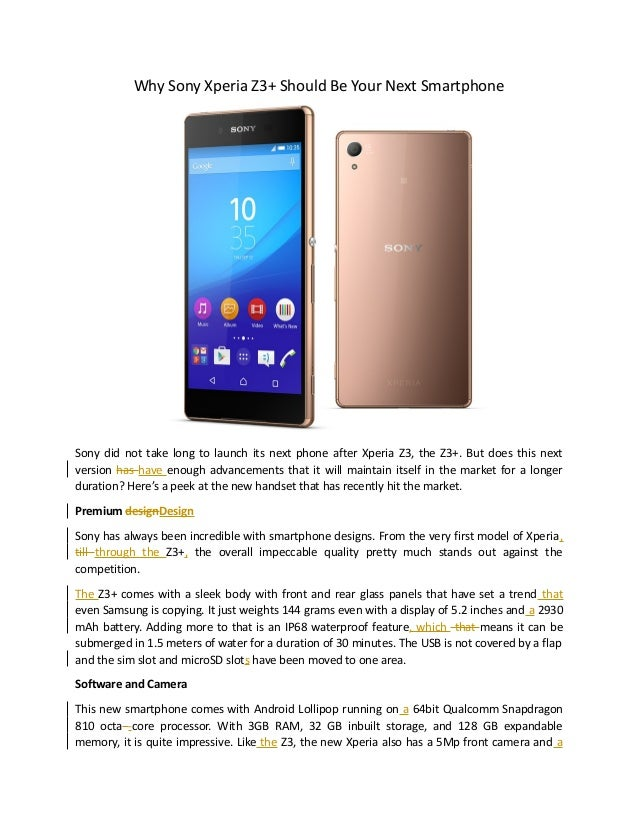 Why sony xperia z3+ should be your next smartphone