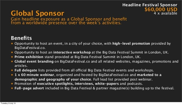 Global Sponsor Gain headline exposure as a Global Sponsor and benefit from a worldwide presence over the week's activities....