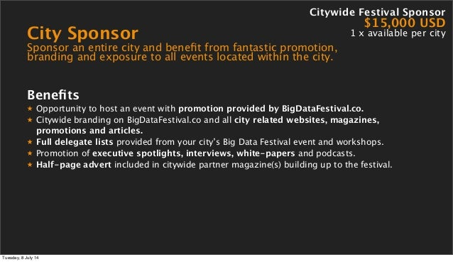 City Sponsor Sponsor an entire city and benefit from fantastic promotion, branding and exposure to all events located withi...