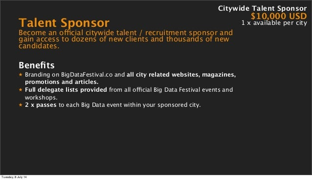 Talent Sponsor Become an official citywide talent / recruitment sponsor and gain access to dozens of new clients and thous...