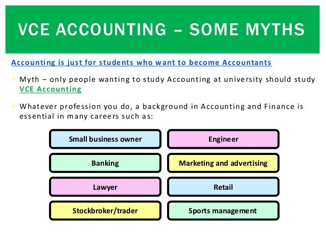Accounting is just for students who want to become Accountants  Myth – only people wanting to study Accounting at univers...
