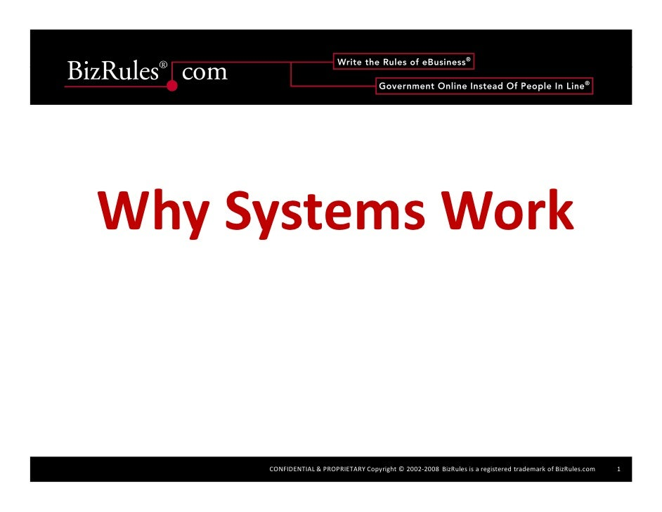 Why Systems Work         CONFIDENTIAL & PROPRIETARY Copyright © 2002‐2008  BizRules is a registered trademark of BizRules....