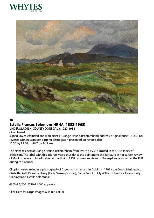 Whytes Important Irish Art Monday 26 November 2018 at 6 pm