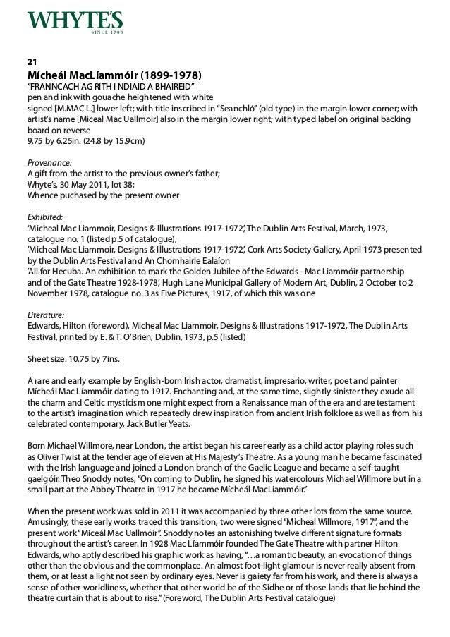 Whytes Irish & International Art Monday 1 October 2018 at 6 pm