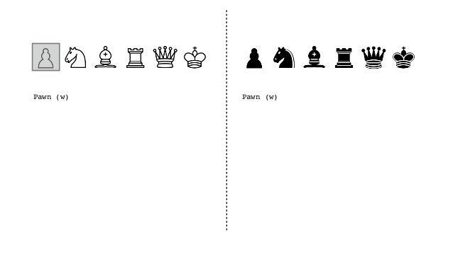 Pawn (w), Pawn (b), Pawn (w), Queen (b) Pawn (w), Pawn (b), Pawn (w), Queen (b)