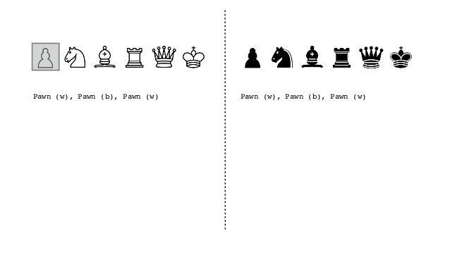 Pawn(w), Pawn(b), Pawn(w), Queen(b), Pawn(w), Queen(b), Bishop(w), Knight(b), Queen(w), Pawn(b), Rook(w), Bishop(b), Knigh...
