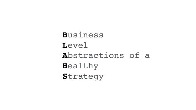 Business Level Abstractions of a Healthy Strategy