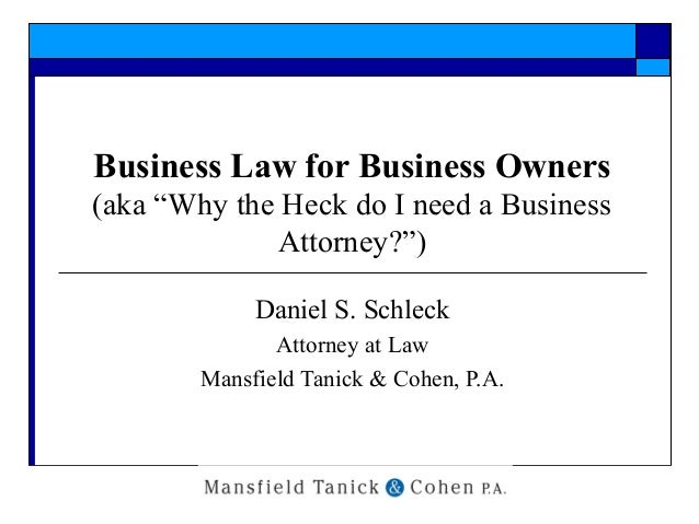 """Business Law for Business Owners (aka """"Why the Heck do I need a Business Attorney?"""") Daniel S. Schleck Attorney at Law Man..."""