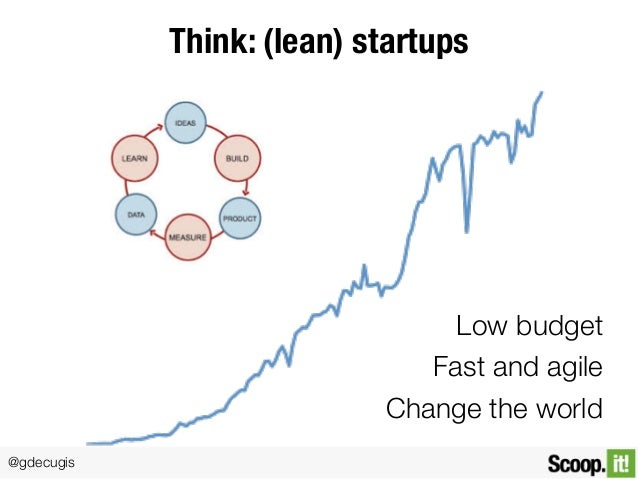 @gdecugis Think: (lean) startups Low budget Fast and agile Change the world