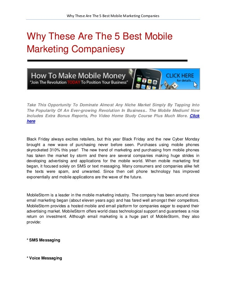 Why These Are The 5 Best Mobile Marketing CompaniesWhy These Are The 5 Best MobileMarketing CompaniesyTake This Opportunit...