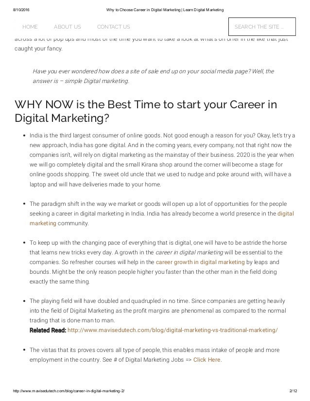why a career in marketing