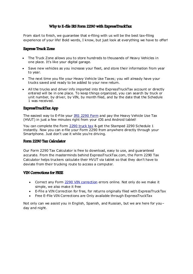 free form 2290 e file  Why to e file irs form 9 with express trucktax
