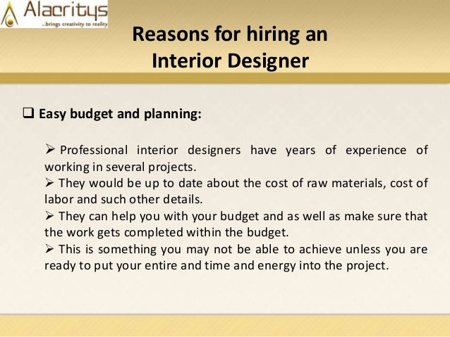 5. Reasons For Hiring An Interior Designer  Easy Budget And Planning:   Professional Interior ...
