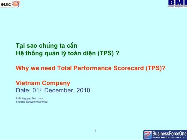 Tại sao chúng ta cần Hệ thống quản lý toàn diện (TPS) ? Why we need Total Performance Scorecard (TPS)? Vietnam Company ...