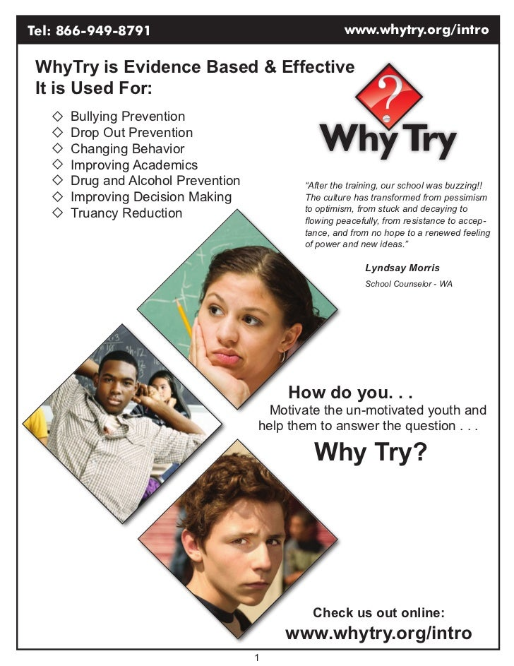 Tel: 866-949-8791                                  www.whytry.org/intro WhyTry is Evidence Based & Effective It is Used Fo...