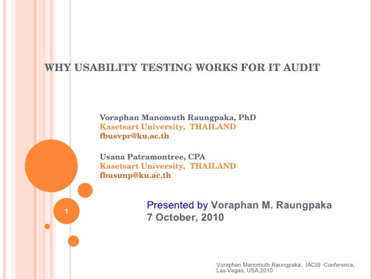 WHY USABILITY TESTING WORKS FOR IT AUDIT Voraphan Manomuth Raungpaka, PhD  Kasetsart University,  THAILAND [email_address]...