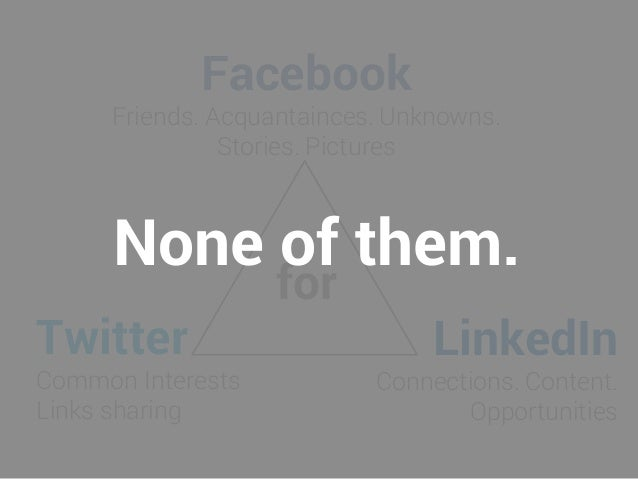 Facebook Friends. Acquantainces. Unknowns. Stories. Pictures Twitter Common Interests Links sharing LinkedIn Connections. ...