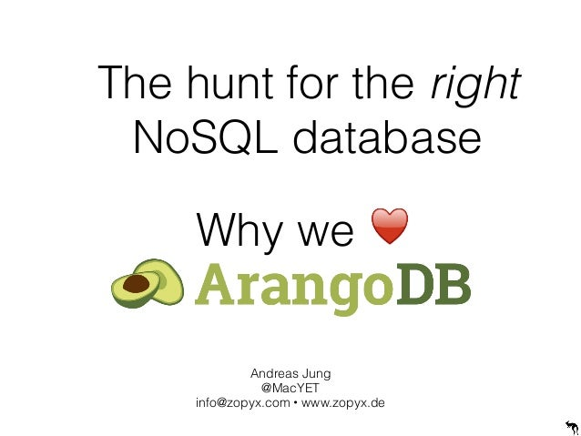 The hunt for the right NoSQL database Andreas Jung @MacYET info@zopyx.com • www.zopyx.de Why we ♥