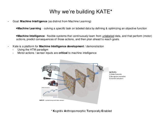 Why we're building KATE* • Goal: Machine Intelligence (as distinct from Machine Learning) Machine Learning - solving a sp...