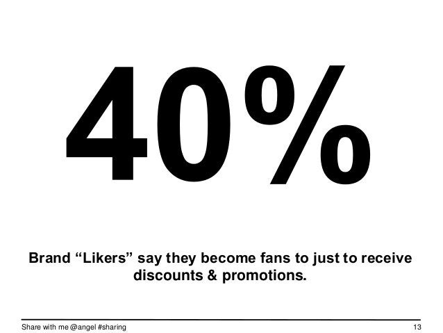 """Brand """"Likers"""" say they become fans to just to receive               discounts & promotions.Share with me @angel #sharing ..."""