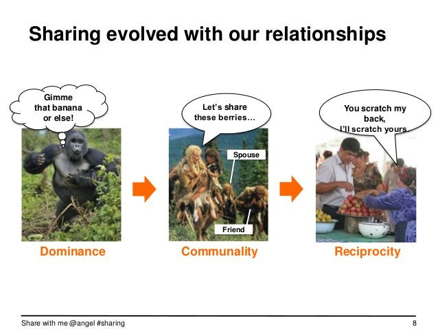 """Sharing evolved with our relationships     Gimme   that banana                     Let""""s share    You scratch my back,    ..."""