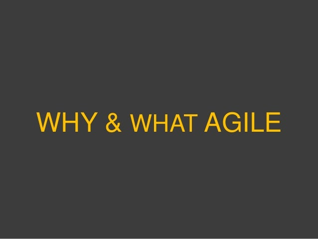 WHY & WHAT AGILE