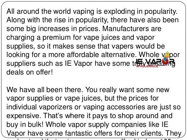 Why wholesale vape juice and supplies makes sense