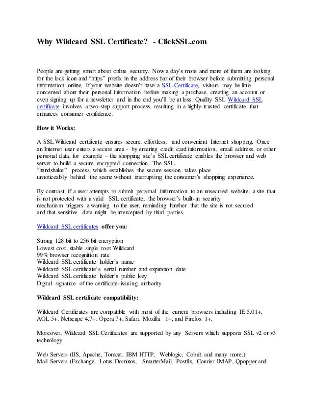 Why Wildcard Ssl Certificate