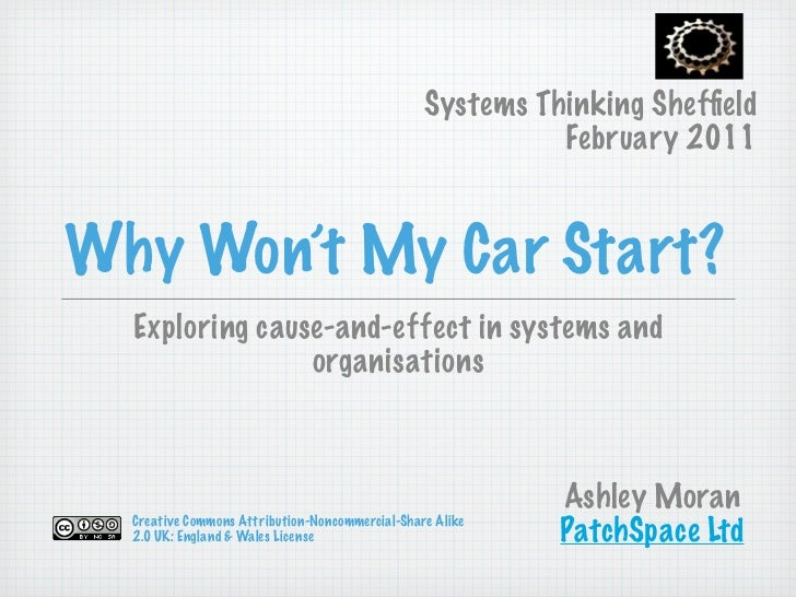 Systems Thinking Sheffield                                                           February 2011Why Won't My Car Start?  ...