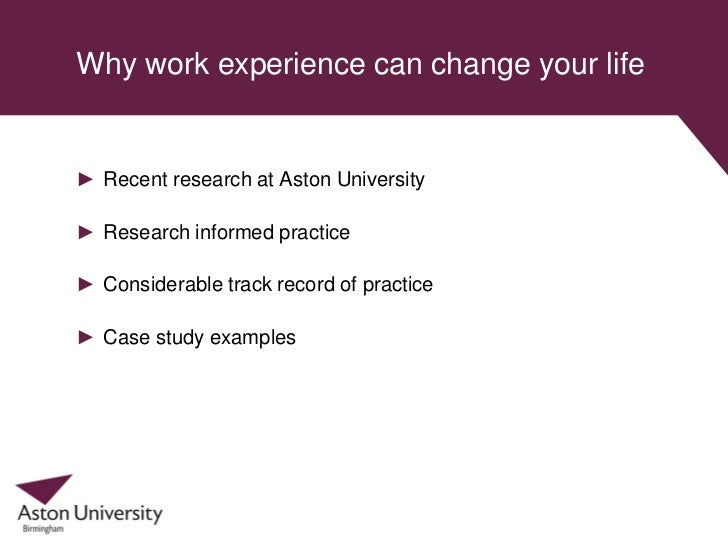 Why work experience can change your life