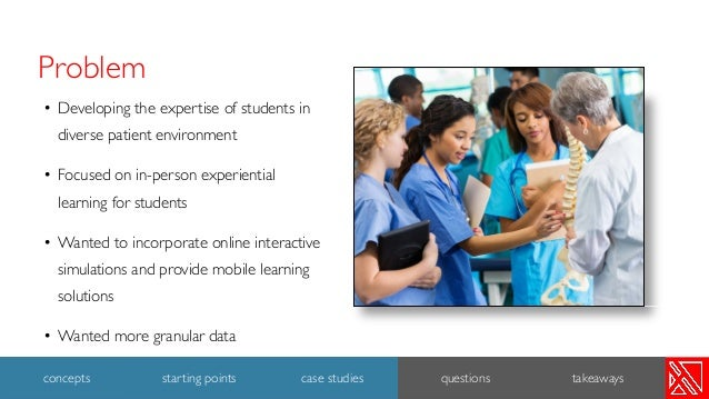 Problem • Developing the expertise of students in diverse patient environment • Focused on in-person experiential learning...