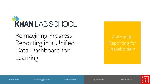 Reimagining Progress Reporting in a Unified Data Dashboard for Learning 20 concepts starting points case studies questions...
