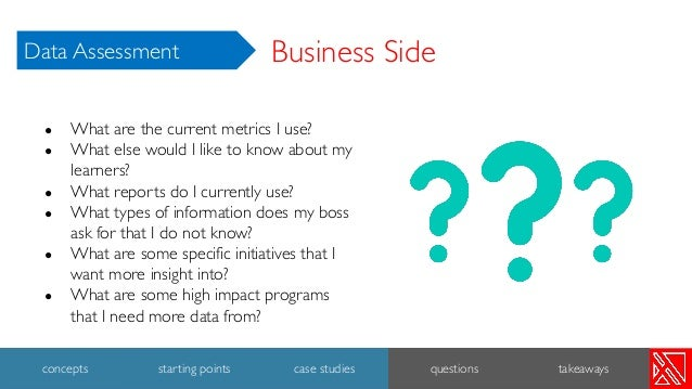 ● What are the current metrics I use? ● What else would I like to know about my learners? ● What reports do I currently us...