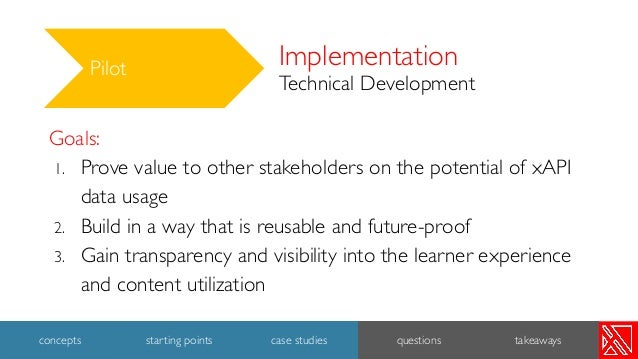 Implementation Technical Development Pilot Goals: 1. Prove value to other stakeholders on the potential of xAPI data usage...